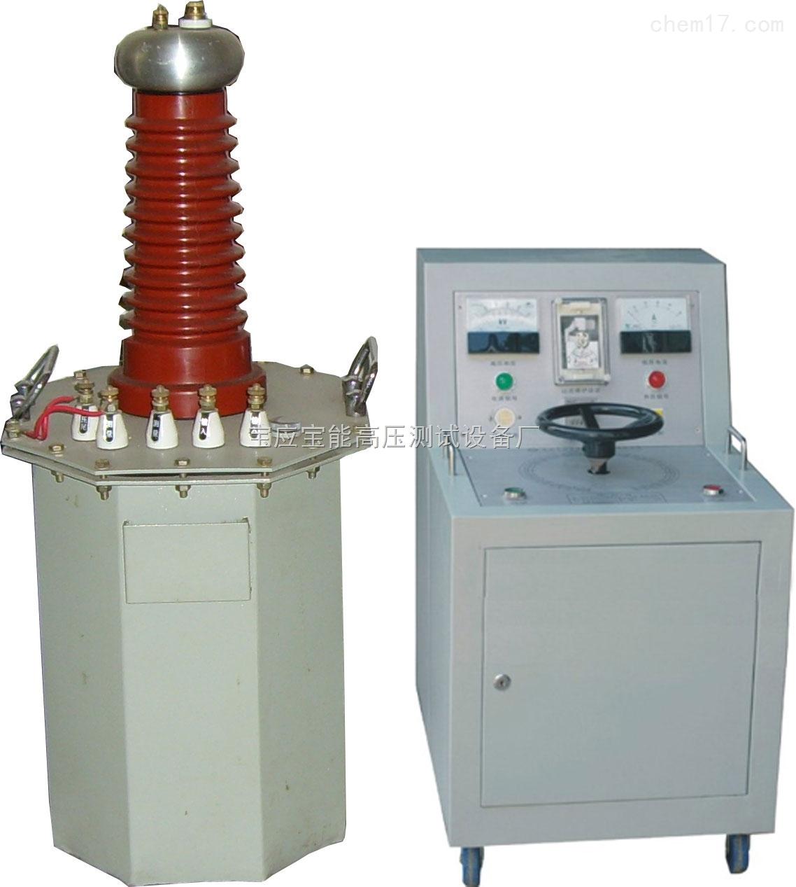 TQSB油浸式试验变压器 产品简介: TQSB油浸式试验变压器是一种新型高压测试设备,本系列产品采用单框芯式铁芯结构,初级绕组和高压绕组同轴绕制在铁芯上,从而减少漏磁通,增大绕组间的耦合。广泛应用于电力和科研单位对电机、电缆、变压器、开关、电器等产品做各种高压绝缘耐压试验。 TQSB油浸式试验变压器可用于交流工频耐压试验,如果配以同等电压等级和同等容量的电容、硅堆及高压直流微安表,便可组装成直流高压试验装置,可以测量高压直流泄漏电流。 TQSB油浸式试验变压器产品特性: 产品的整体结构紧凑,通用性强,使用