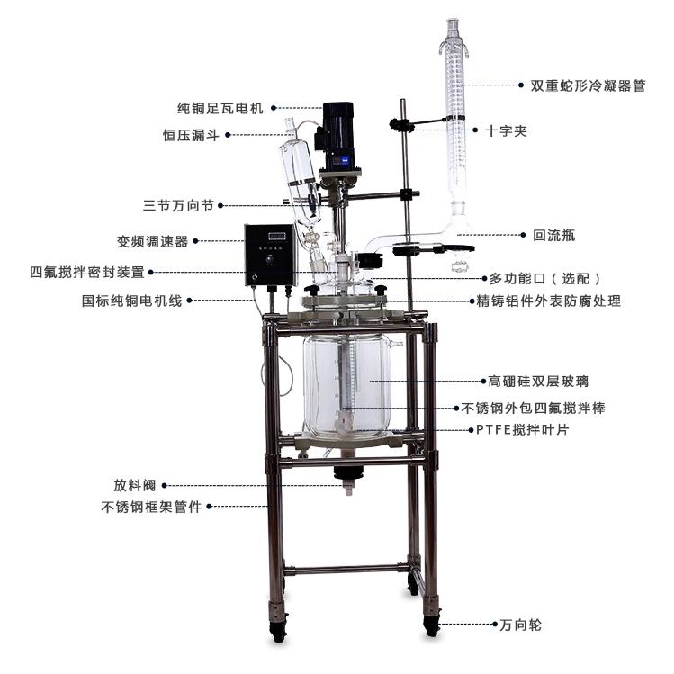 秋佐科技实验室双层玻璃反应釜-30L