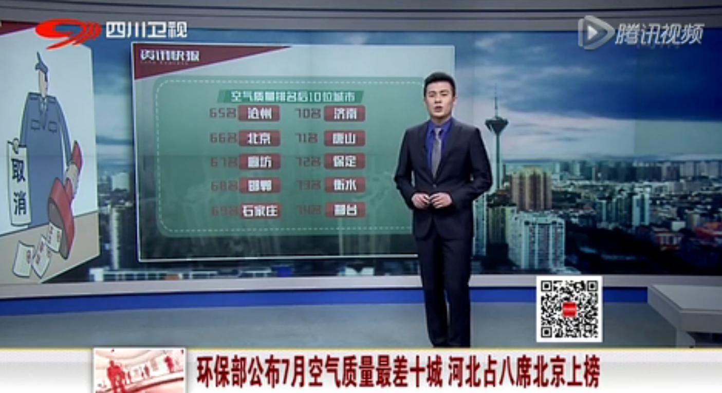 环保部公布7月空气最差10城 河北占8席北京上榜