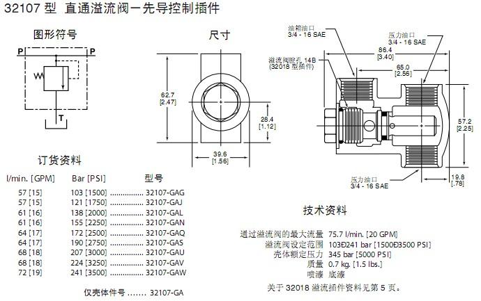 回油阀装配图-威格士VICKES 32107直通溢流阀