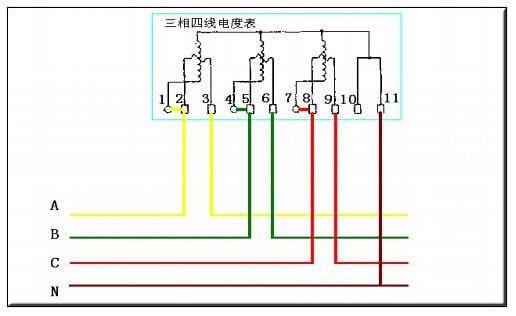 带电流互感器的三相四线电表接线